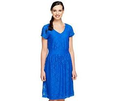 Isaac Mizrahi Live! Short Sleeve Knit Lace Dress