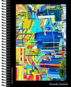 Caderno Universitário com Arte fotográfica fullcolor da deliciosa  Avenida Paulista. Criação gráfica Marco Machado.