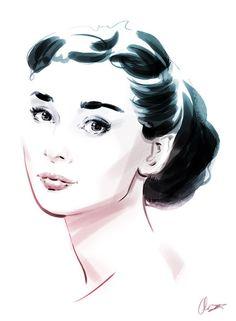 Audrey Hepburn - Screen Icons: 12 Portraits of Hollywood Goddesses by Christopher King Audrey Hepburn Kunst, Audrey Hepburn Style, Megan Hess, Tim Burton, Art Studio Design, Perfume, Portrait Art, My Idol, Pop Art