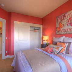 Coral & white bedroom!