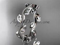 14kt white diamond leaf and vine wedding ring,engagement ring,wedding band ADLR1B - AnjaysDesigns