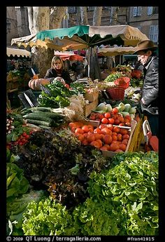 Pictures of Aix-en-Provence, France. Part of gallery of color pictures of Europe by professional photographer QT Luong, available as prints or for licensing. Aix En Provence, Provence France, Fresco, Vegetable Stand, Fresh Market, Fresh Shop, Flower Market, Farmers Market, Beautiful World