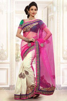 Lovely Pink & Beige Color #Designer Netted #Saree