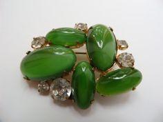 Spilla cabochon di vetro verde, vetro cabochon spilla, spilla di strass vetro verde, rara spilla, spilla da collezione rara, spilla da collezione
