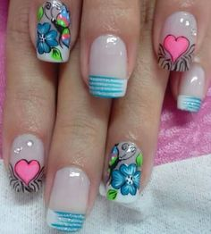 Flores 3d Nail Art, 3d Nails, Pedicure Designs, Nail Designs, Flower Nail Art, Manicure And Pedicure, Summer Nails, Pretty Nails, Hair And Nails
