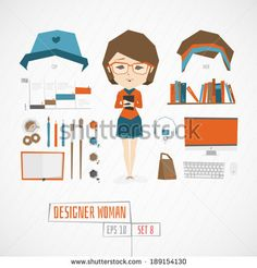 Vector designer girl character illustration