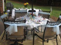 Vintage tea party patio setting