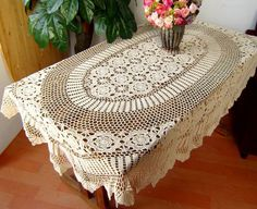 Perfect handdmade crochet tablecloth for my vintage style candy bar buffet.