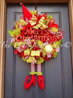 Nickamus Naughty Elf Wreath Elf Leg and Hat Wreath Christmas Elf Wreath Christmas Wreath by TheWhimsicalDoor on Etsy https://www.etsy.com/listing/207349813/nickamus-naughty-elf-wreath-elf-leg-and