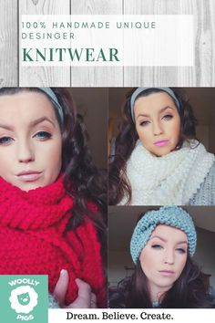 Unique designer handmade chunky headbands and Scarfs Knitwear Fashion, Sweater Fashion, Women's Fashion, Latest Fashion, Fashion Tips, Fashion Trends, Wooly Pig, Chunky Knit Scarves, Boyfriend Style
