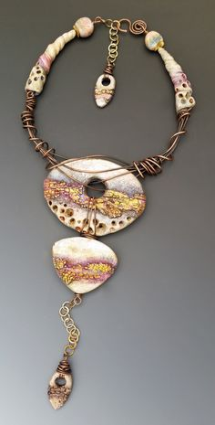 I am very excited to once again, have two piece accepted into the Bead Dreams Competition as finalists. The first showcases my new Rustic Crackle Technique It is titled: Sunset Goldrush
