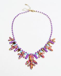 statement necklace hand painted rhinestone neon pink blue yellow Swirl. $125.00, via Etsy.