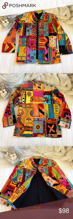 """⛩ BOHO Tribal Jacket ⛩ BOHO Tribal Ethnic Vintage Woman Multicolor Mandarin Neck w Brass Bell Chinese Style Button Blazer Jacket w Front Pocket both sides.  Handmade, hand stitch from Thailand. Made by sewing multiple pieces of colorful fabric together. Inside layered by black cotton.   Gently pre-owned. Fabric has black stain on the back of the cloth (in pic). Worn only twice as this is too small.   Size - M, approximate US size S Length - 26"""" Shoulder to shoulder - 15"""" Underarm to underarm…"""