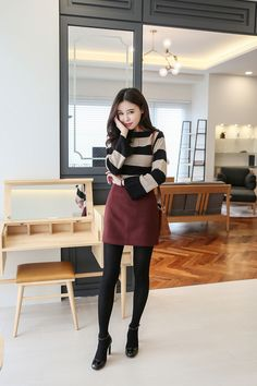 Buy Boat Neck Stripe Wide Sleeve Top at Korean Fashion Store. Find the hottest fashion trends in South Korea here at our store. We are constantly adding new styles daily so come take a look! Korean Fashion Work, Korean Fashion Ulzzang, Korean Fashion Winter, Asian Fashion, Korean Style, Fashion Moda, Skirt Fashion, Ootd Fashion, Vanessa Ives