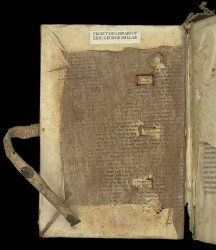 """(Offsets of the Hebrew script left by a former pastedown on the inside of the upper cover, Egerton MS 3775.) PASTEDOWN = """"a leaf pasted onto the inside of a board (see BOARDS) to conceal the CHANNELING and PEGGING and other mechanics of the BINDING. Pastedowns are often formed of fragments of earlier manuscripts that were considered dispensable."""" - This image identified by the The British Library, is free of known copyright restrictions"""