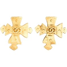 Pre-owned Chanel CC Byzantine Cross Earrings ($245) ❤ liked on Polyvore featuring jewelry, earrings, gold, gold earrings, gold clip on earrings, gold clip earrings, pre owned jewelry and clip back earrings