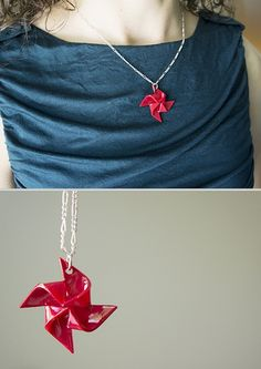 DIY Easy Shrink Plastic Pinwheel Pendant Tutorial from Always a Project here. Cheap and easy DIY using shrink plastic and nail polish. The only caution is don't burn yourself! For more unique shrink plastic DIYs go here:. Ceramic Jewelry, Clay Jewelry, Jewelry Crafts, Handmade Jewelry, Jewelry Ideas, Jewellery, Necklace Tutorial, Diy Necklace, Tree Necklace