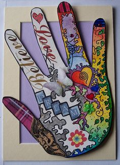 .hand self portrait collage 6th grade