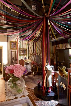 when I run a fabulous vintage boutique it will look like this Paper Party Decorations, Wedding Decorations, Grad Parties, Birthday Parties, Vintage Boutique, Boutique Decor, Henna Party, Bollywood Party, Ceiling Treatments