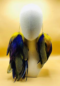 """Thanks for the kind words! ★★★★★ """"I love my earrings. Excellent quality."""" April W. #etsy #gray #earwire #bohohippie Feather Headpiece, Feather Earrings, Women's Earrings, Large Feathers, Black Feathers, Bleach Dye, Earring Crafts, Yellow Earrings, Earrings Photo"""