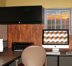 Decorate your cubicle with our easy-stick wallpaper wood design and window view from Dream Cubicle.