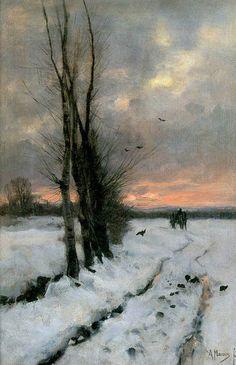 "Winter landscape at sunset. ""Anton Mauve, Winter Landscape at Sunset, Paintings I Love, Beautiful Paintings, Abstract Landscape, Landscape Paintings, Winter Painting, Painting Snow, Dutch Painters, Fine Art, Winter Landscape"