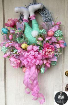RESERVED Deco mesh Easter wreath Burlap Easter wreath bunny booty burlap wreath…