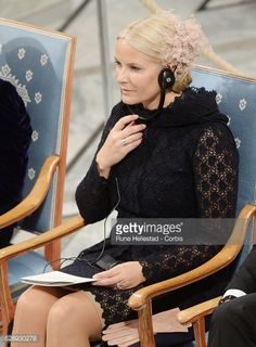 Crown Princess Mette Marit of Norway attends the Nobel Peace Prize ceremony at Oslo City Town Hall on December 10 2016 in Oslo Norway