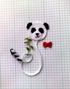 Bookmark Panda Bear and small red bow As a bookmark you can use to save a page in books, diaries, paper notebooks etc. SIZE ~25 cm (9.8) I can make the interesting color and quantity. Please let me know if you need additional pieces. All items in the shop: https://www.etsy.com/ru/shop/ElenaGift