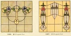 Leaded Glass from International Art Glass Catalogue by National Ornamental Glass Manufacturers Association of the United States and Canada, published in Stained Glass Door, Stained Glass Crafts, Stained Glass Designs, Mosaic Crafts, Stained Glass Patterns, Leaded Glass, Craftsman Mosaic Tile, Art Nouveau, Art Deco