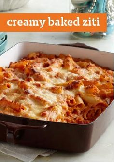 Creamy Baked Ziti — Creamy and cheesy are the key words here! Sour cream and cream cheese take a tomato, marinara and ziti casserole to a whole new level of dinnertime pasta deliciousness.