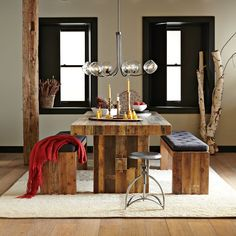 Reclaimed wood, leather, & industrial elements