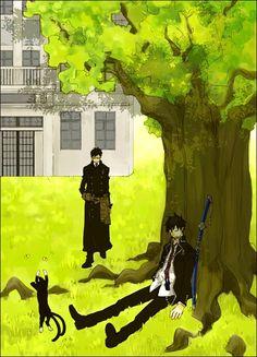 Tags: Anime, Ao no Exorcist, Okumura Rin, Okumura Yukio, Kuro (Ao No Exorcist), Under A Tree, Pixiv Id 3804112