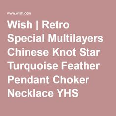 Wish | Retro Special Multilayers Chinese Knot Star Turquoise Feather Pendant Choker Necklace YHS (Kleur: Zilver)