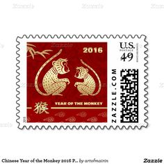 2016 Chinese Year of the Monkey Postage Stamps. Matching cards, postage stamps, traditional Chinese red envelopes and other products available in the Chinese New Year / Year of the Monkey Category of the artofmairin store at zazzle.com