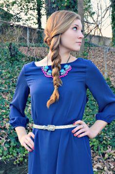 statement necklace and cobalt dress