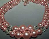 Pink Pearlescent Necklace Betty Draper Style