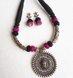 Oxidised Jewellery set with Maa Durga pendant Jewelry Design Earrings, Bead Jewellery, Necklace Designs, Jewelry Art, Beaded Jewelry, Fashion Jewellery, Terracotta Jewellery Making, Terracotta Jewellery Designs, Diy Fabric Jewellery