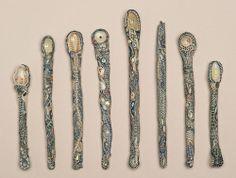 Karen T. Sugar Spoon, Ceramic Spoons, Pottery, Textiles, Clay, Ceramics, Sculpture, Tableware, Sticks