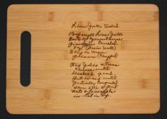 Etsy    Have your favorite hand-written family recipe laser engraved on a bamboo cutting board. We love this idea for a modern family heirloom. http://etsy.me/QRoJEu