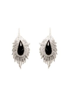 Diamond, onyx & gold Leaf earrings
