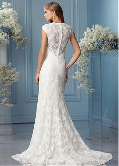 Glamorous All-over Lace Sheath Queen Anne Neckline Natural Waistline Wedding Dress
