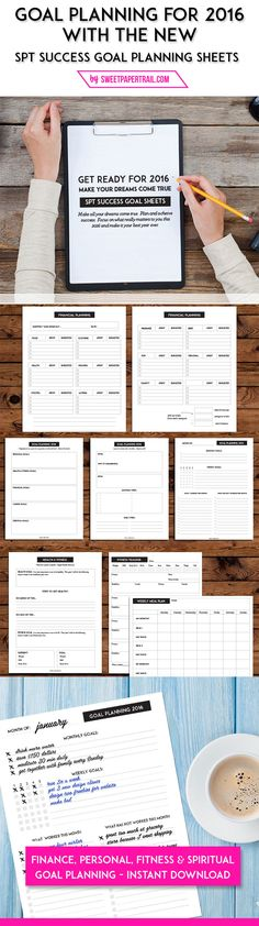 2016 goal planning worksheets by Sweet Paper Trail goal setting Planner Pages, Life Planner, Printable Planner, Weekly Planner, Printables, The Plan, How To Plan, Planners, 2016 Goals