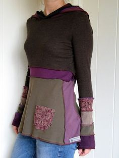 Turnaround Designs upcycled tshirt hoodie. Good idea to reuse all the t-shirts that are too small or have a hole or bleach stain somewhere!:
