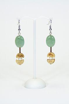 Boucles d'oreilles Aventurines, bois, perles d'eau douce #gadhorre #jewelry