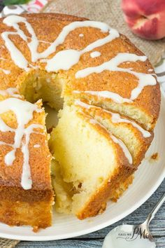 Two Step Fresh Peach Pound Cake recipe from Call Me PMC #peaches #dessert #cake