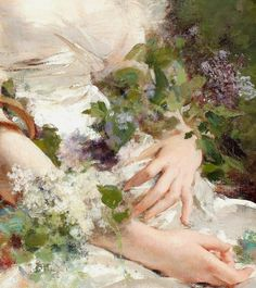 """""""Young Woman with Flower Basket"""" (detail) by Charles Chaplin (1825-1891)."""