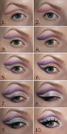Beautifull purple eye makeup with glitters >> click on the picture for a full tutorial (tutorial is in Swedish but can easily translated with google translate)
