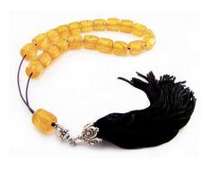 Greek Komboloi Worry Beads Yellow Resin by sunnybeadsbythesea