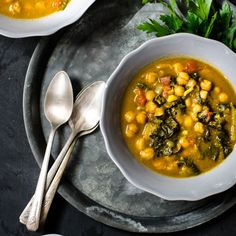 Chickpea Stew with Swiss Chard - A healthy fall dish.